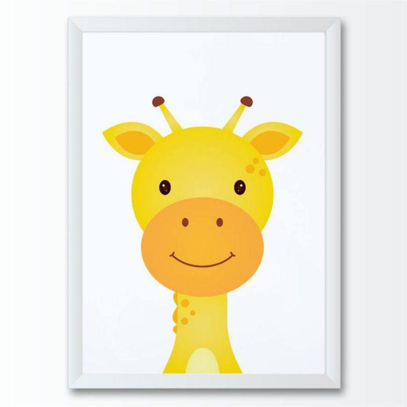 Quadro infantil girafa amarela