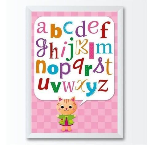 Quadro infantil grande letras coloridas gatinho