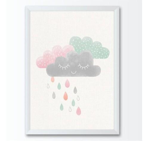 Quadro infantil grande nuvens gotas chuva coloridas