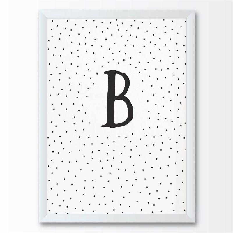Quadro infantil letra B pontinhos preto