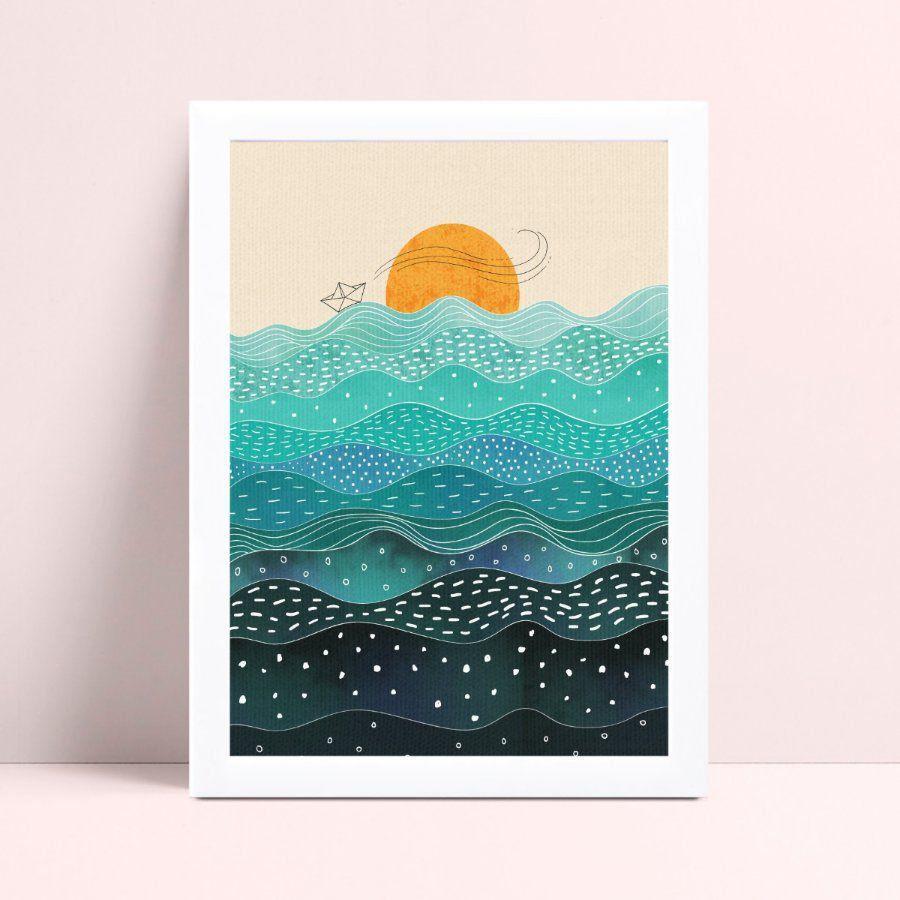 Quadro infantil MDF decoração sol mar oceano ondas