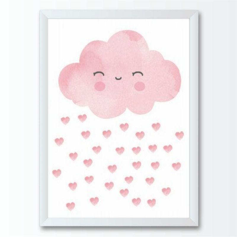 Quadro infantil Nuvem chuva de Corações Rosa