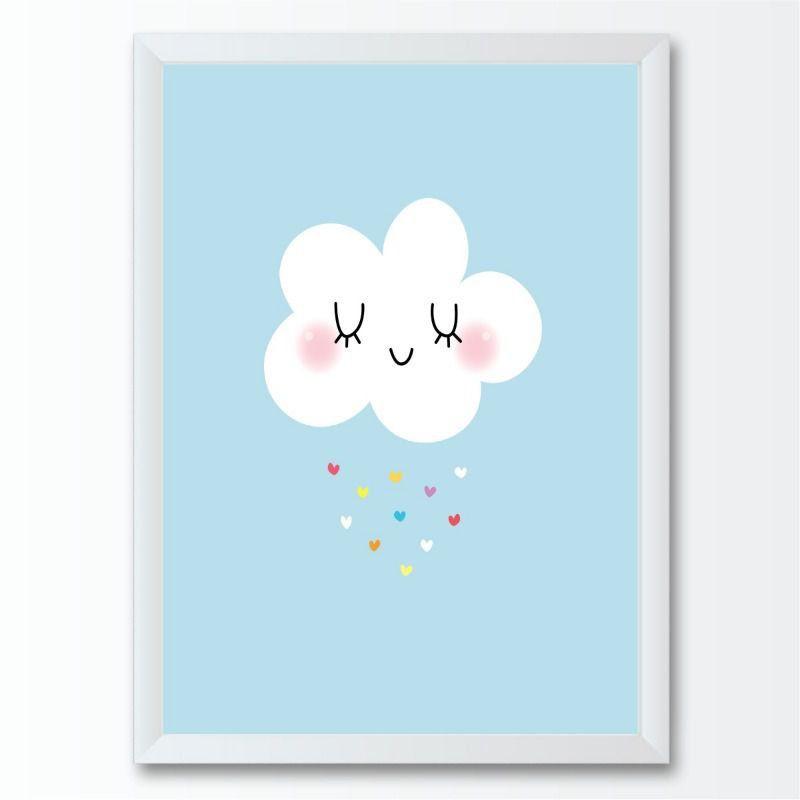 Quadro infantil nuvem corações