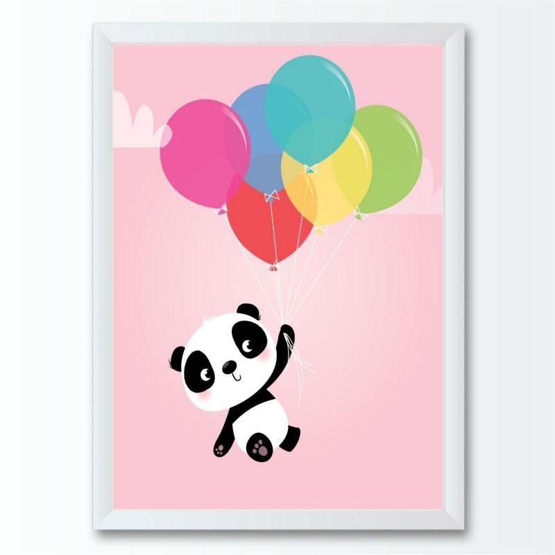Quadro infantil panda voando bexigas coloridas