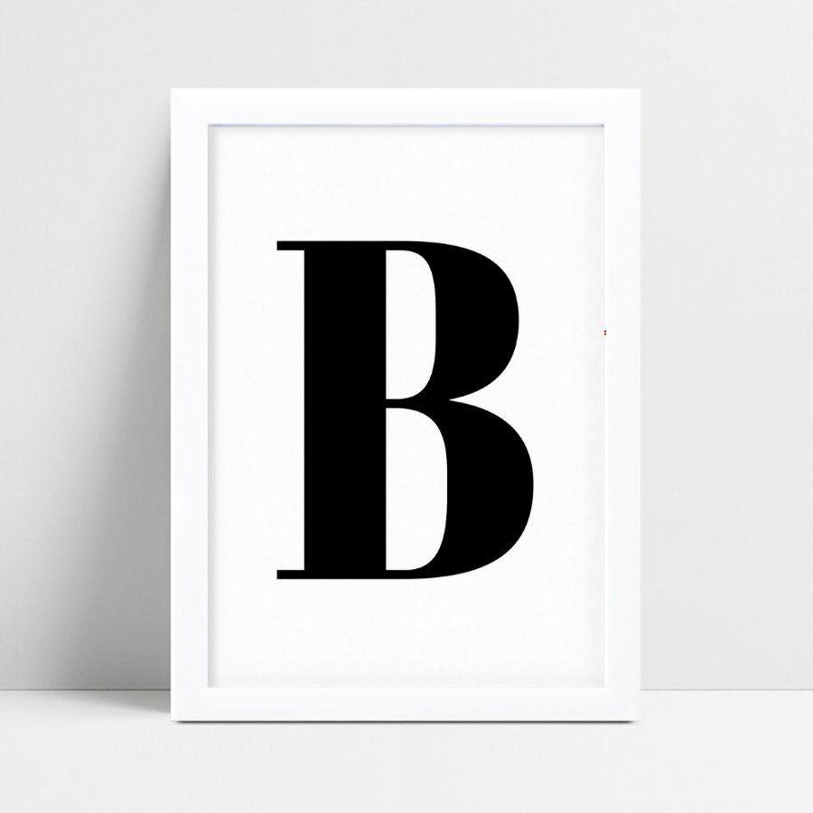 Quadro infantil personalizado infantil decoração letra B p&b