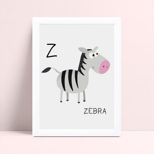 Quadro infantil personalizado infantil decoração zebra
