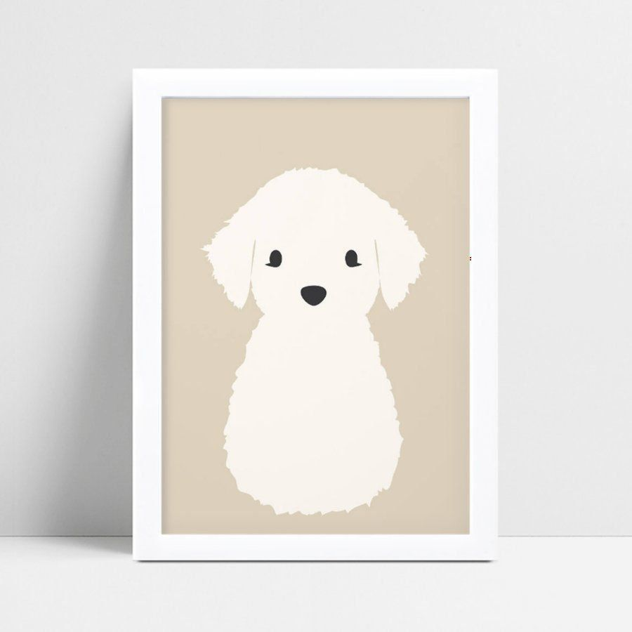 Quadro infantil quarto bebê animal filhote cachorro branco