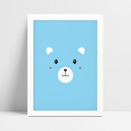 Quadro infantil quarto bebê azul face urso