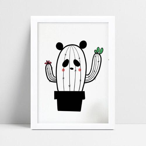 Quadro infantil quarto bebê cacto panda