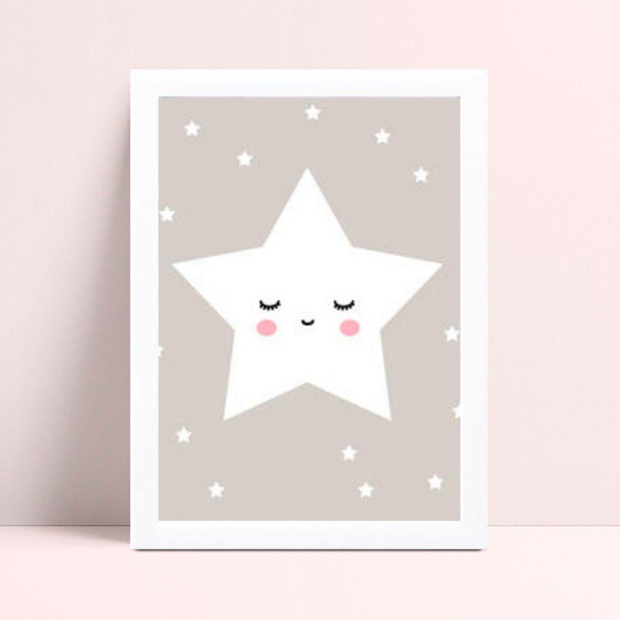 Quadro infantil quarto bebê cinza estrela branca