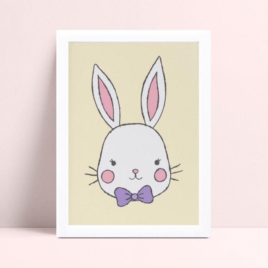 Quadro infantil quarto bebê coelho gravata borboleta