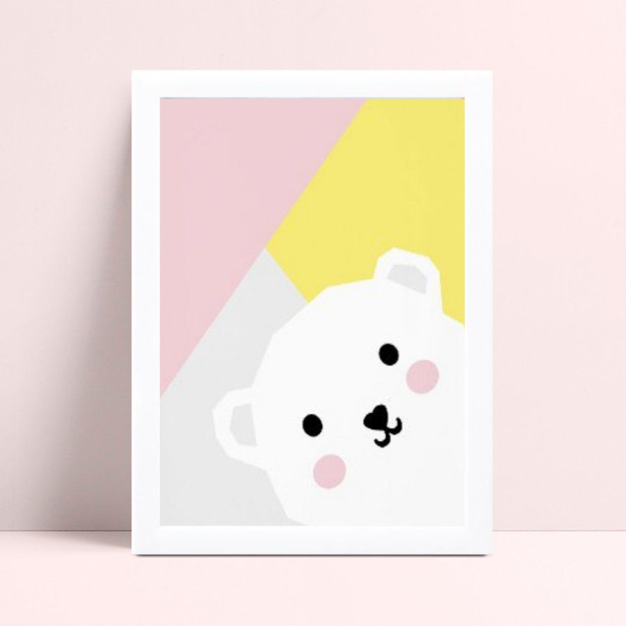 Quadro infantil quarto bebê colorido animal urso branco