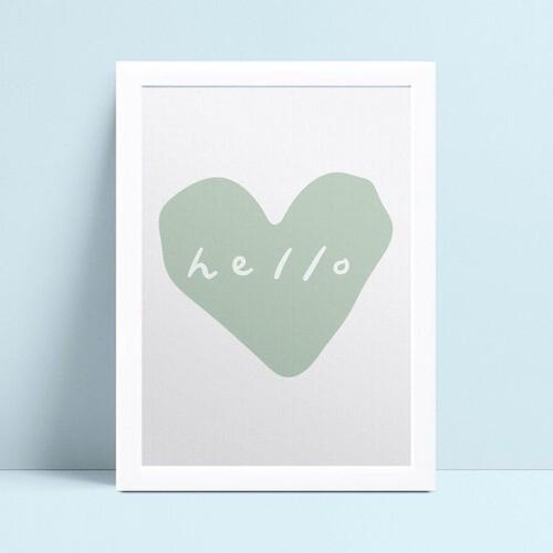 Quadro infantil quarto bebê coração verde