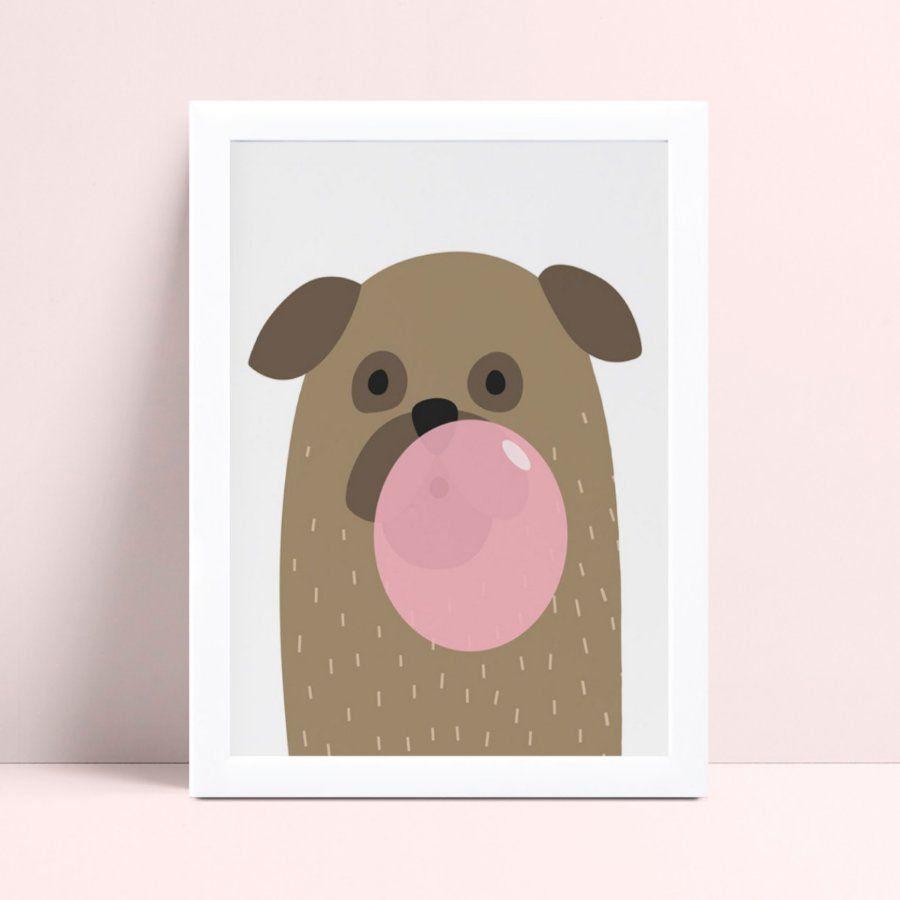 Quadro infantil quarto bebê desenho cachorro bola chiclete