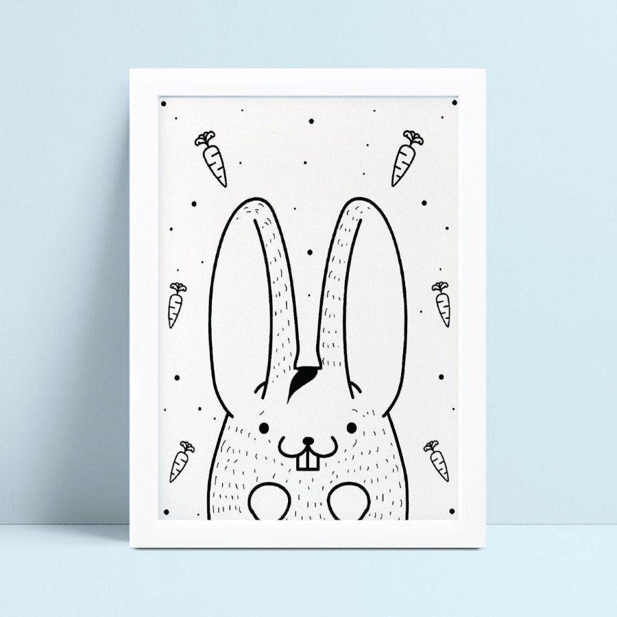Quadro infantil quarto bebê desenho coelho cenoura p&b