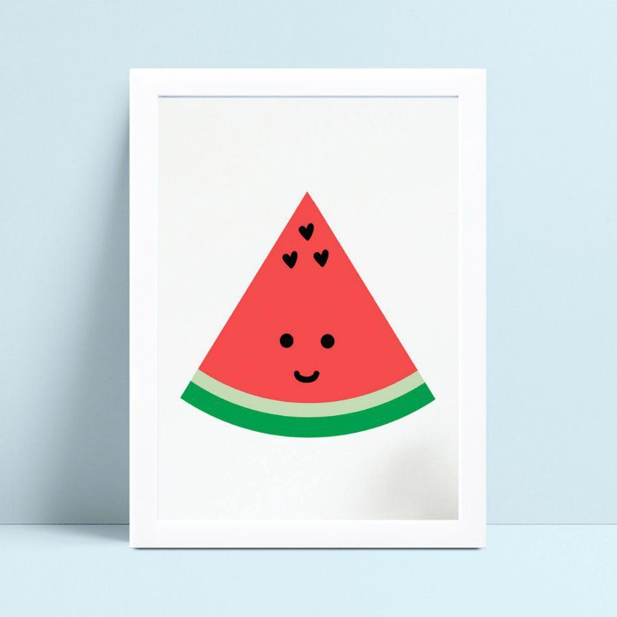 Quadro infantil quarto bebê desenho pedaço melancia fruta