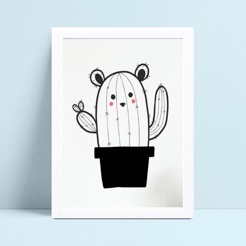 Quadro infantil quarto bebê desenho urso cacto