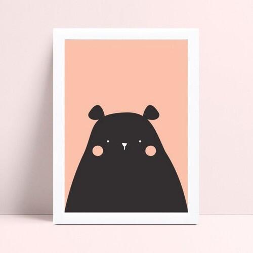 Quadro infantil quarto bebê desenho urso preto e rosa