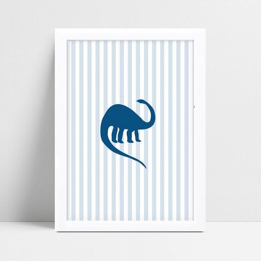 Quadro infantil quarto bebê dinossauro azul