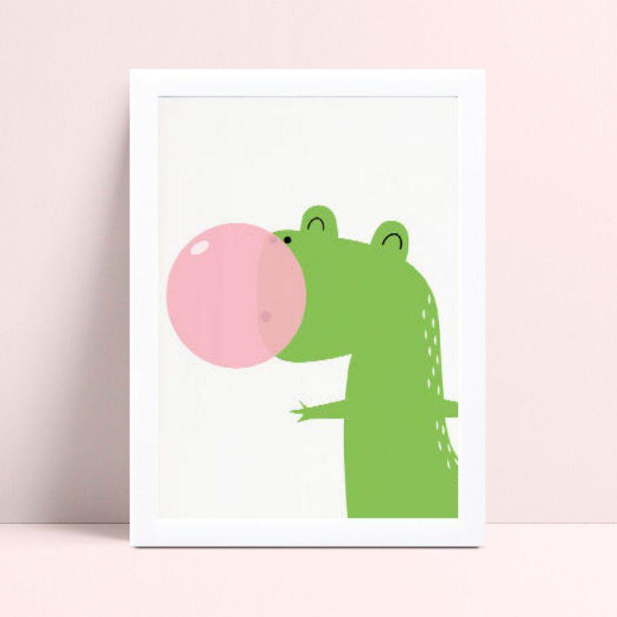 Quadro infantil quarto bebê dinossauro bola chiclete rosa
