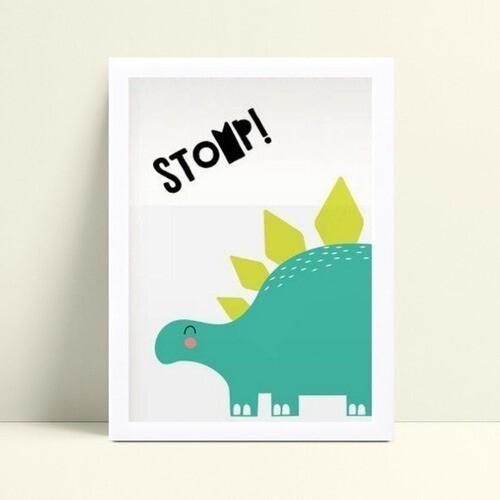Quadro infantil quarto bebê dinossauro verde
