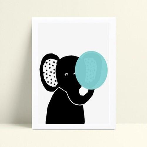 Quadro infantil quarto bebê elefante preto chiclete azul