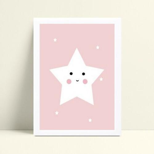Quadro infantil quarto bebê estrela branca e rosa