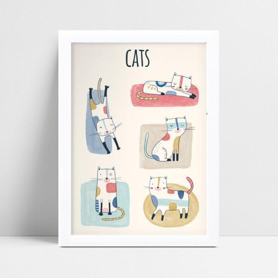 Quadro infantil quarto bebê gatos coloridos