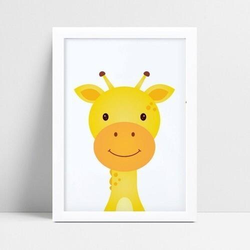 Quadro infantil quarto bebê girafa amarela