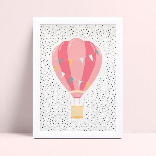 Quadro infantil quarto bebê menina balão rosa