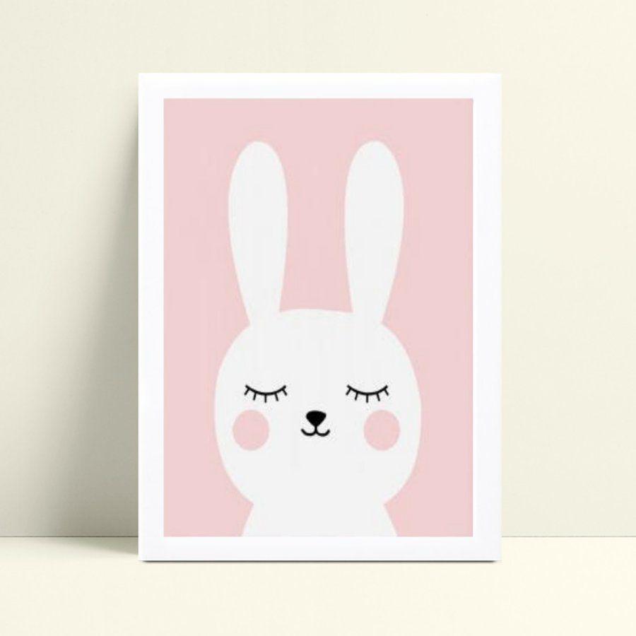 Quadro infantil quarto bebê menina coelho branco e rosa
