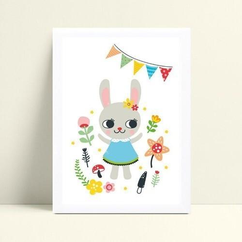 Quadro infantil quarto bebê menina coelho de vestido flores
