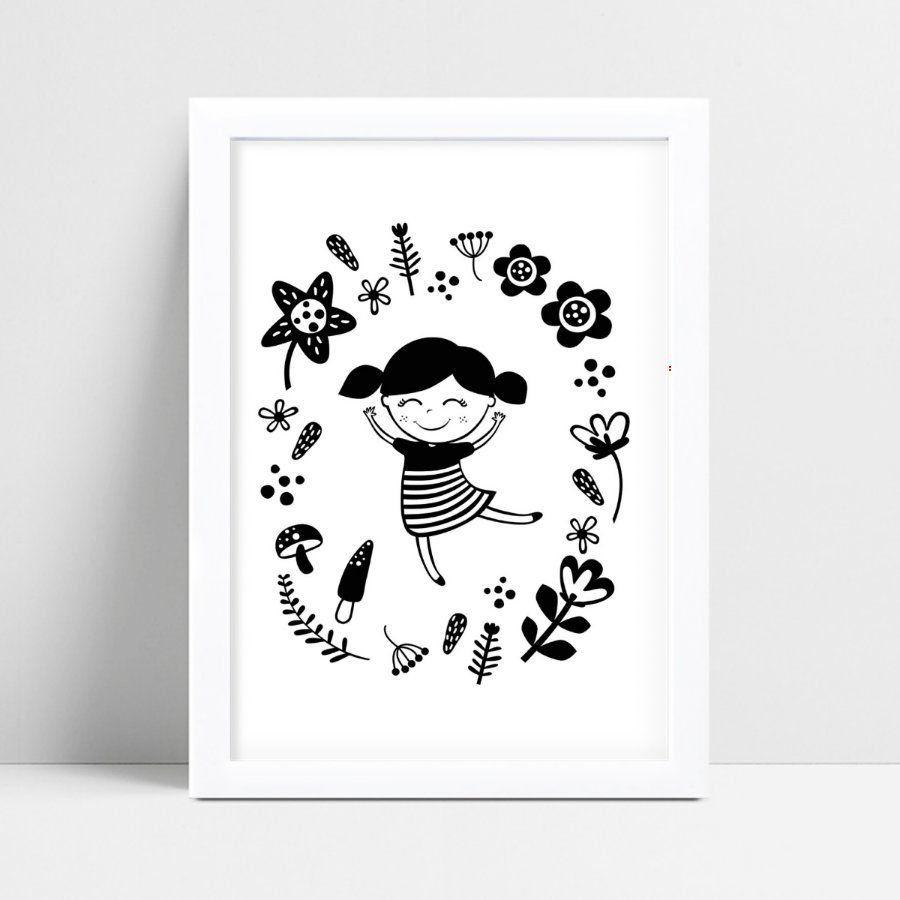 Quadro infantil quarto bebê menina dançando flores