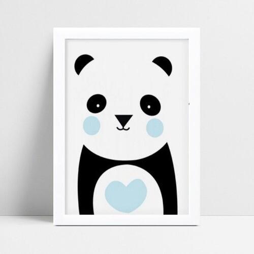 Quadro infantil quarto bebê menino panda animal