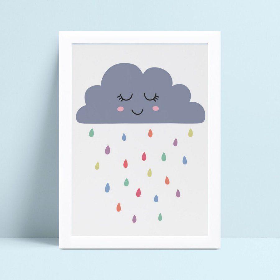 Quadro infantil quarto bebê nuvem azul gotas chuva colorido