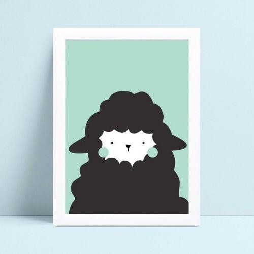 Quadro infantil quarto bebê ovelha verde e preto