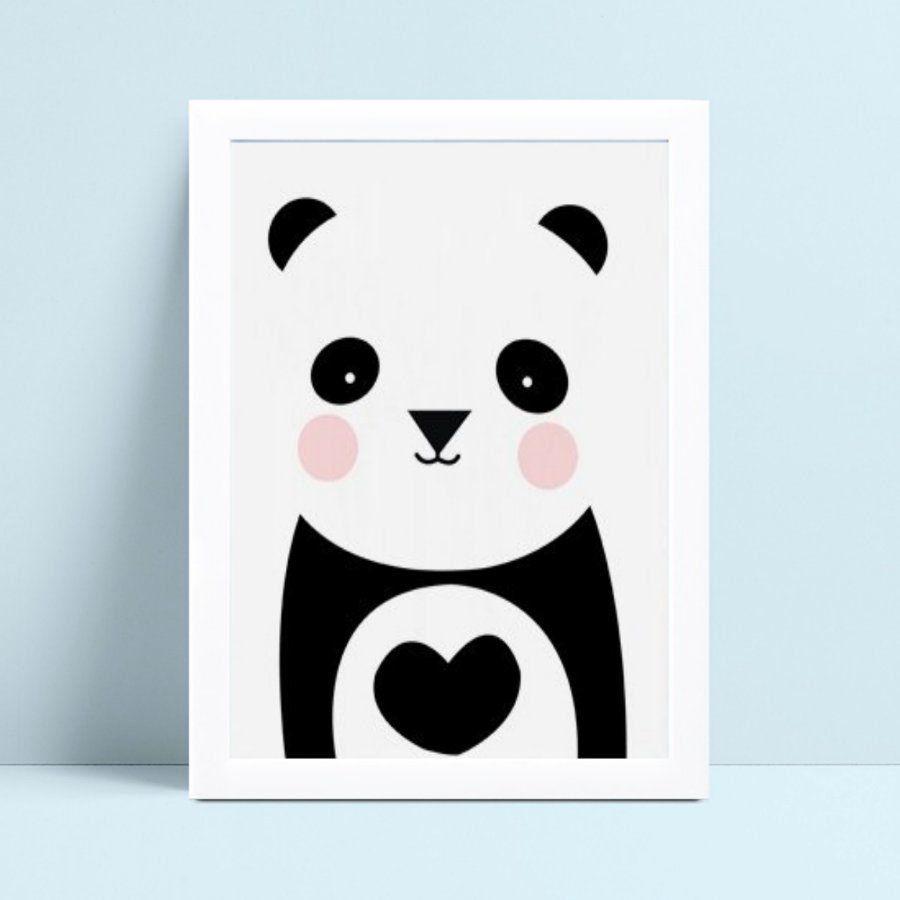 Quadro infantil quarto bebê panda bochecha rosa