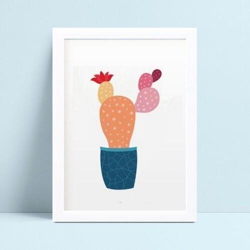 Quadro infantil quarto bebê planta cactos coloridos