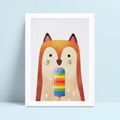 Quadro infantil quarto bebê raposa picolé colorido