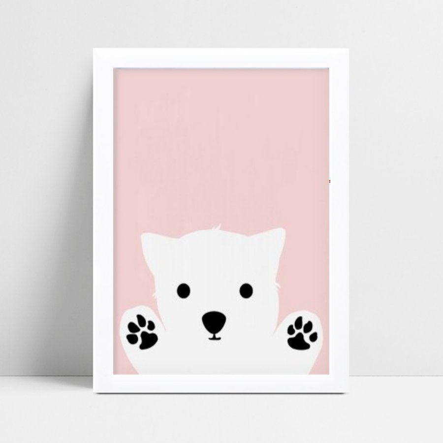 Quadro infantil quarto bebê rosa zoo urso polar