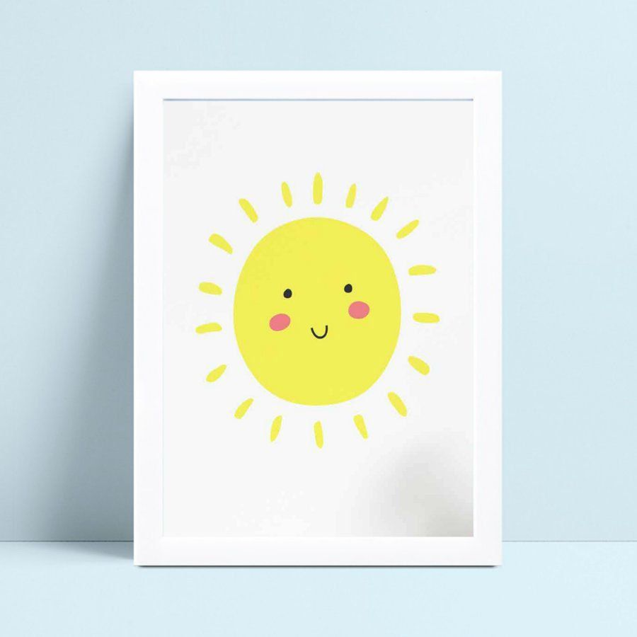 Quadro infantil quarto bebê sol amarelo