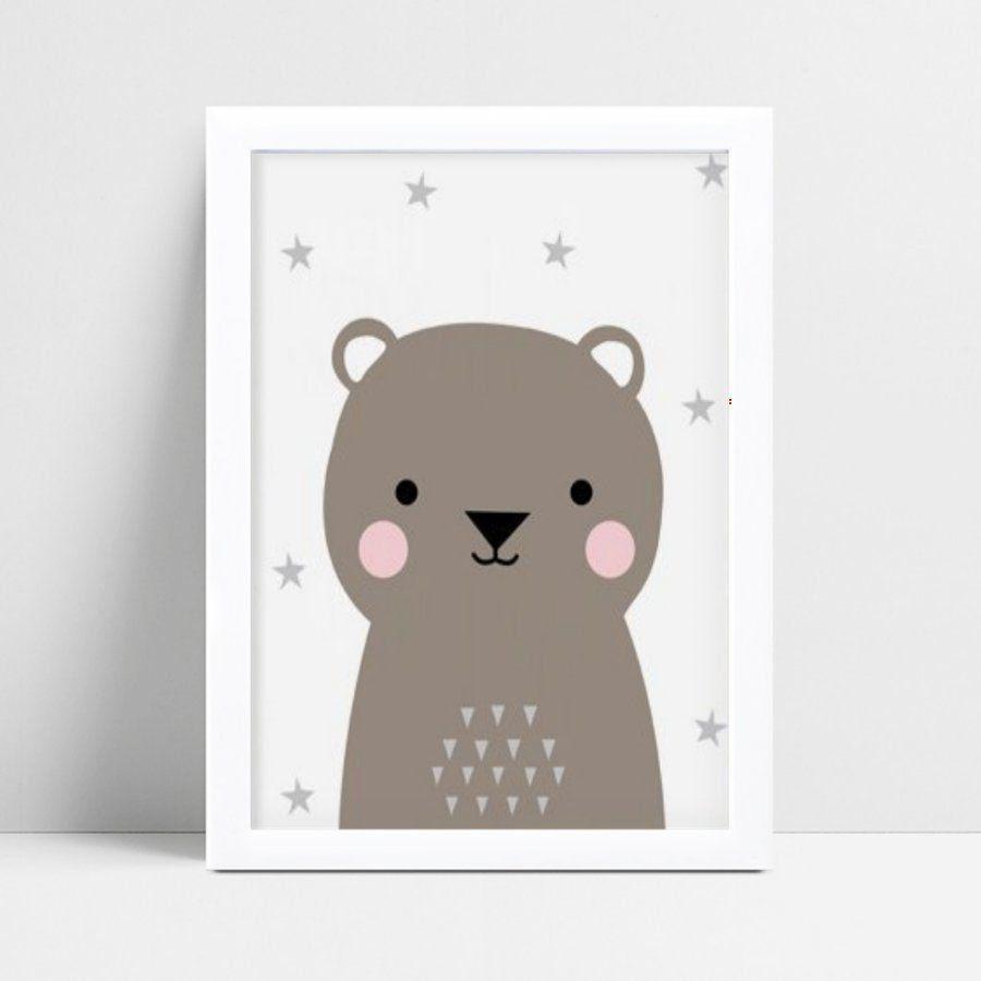 Quadro infantil quarto bebê urso cinza