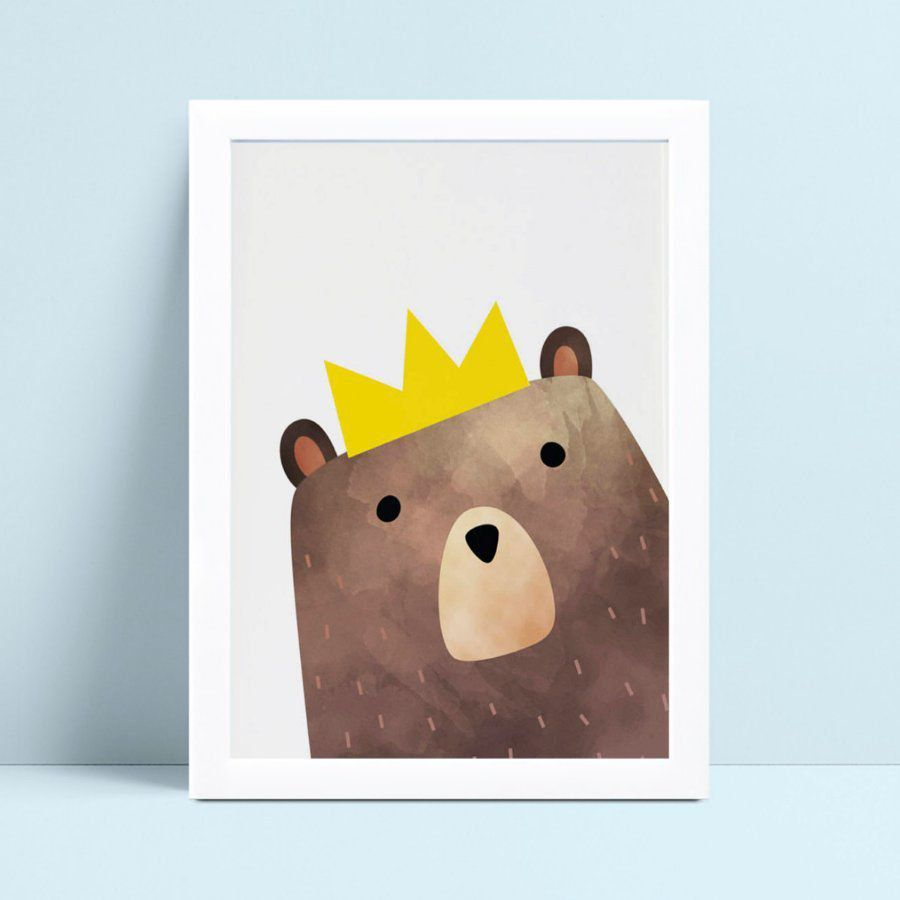 Quadro infantil quarto bebê urso cora de rei