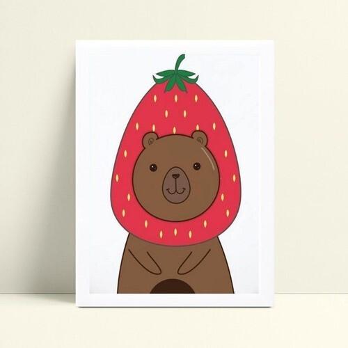 Quadro infantil quarto bebê urso morango