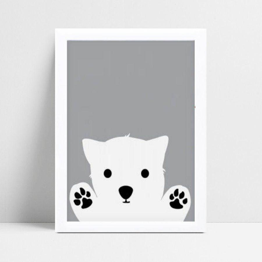 Quadro infantil quarto bebê urso polar branco e cinza