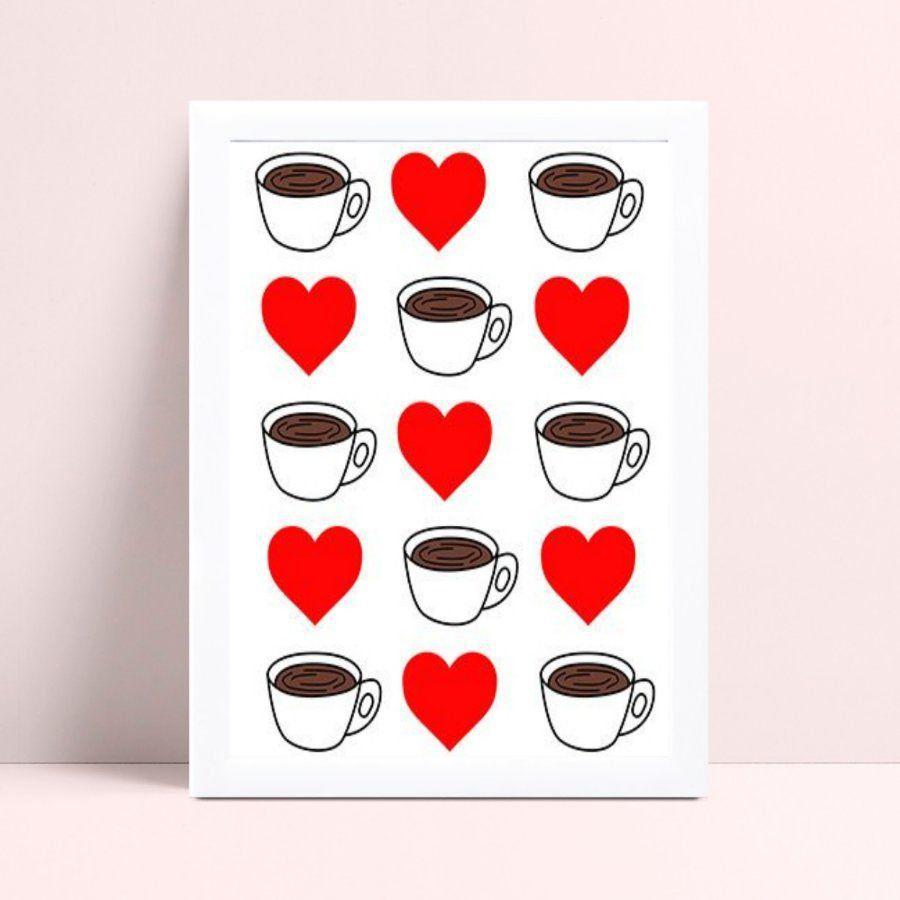 Quadro infantil quarto bebê xícaras café corações