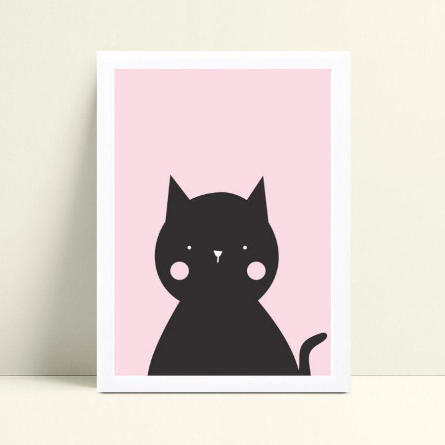 Quadro infantil quarto menina gato preto