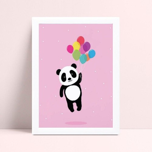 Quadro infantil quarto menina panda bexigas coloridas