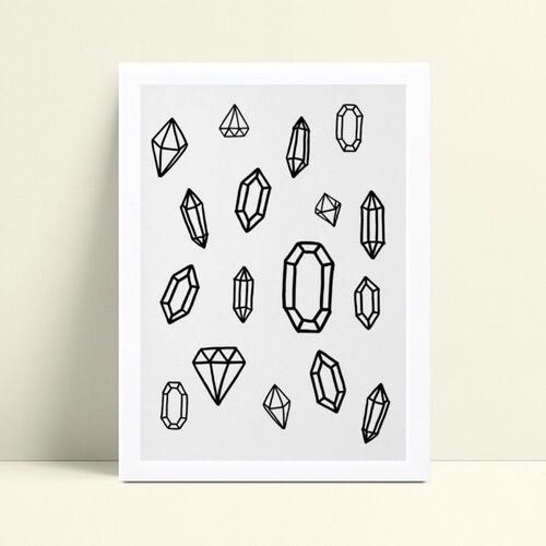 Quadro infantil sem moldura diamantes p&b