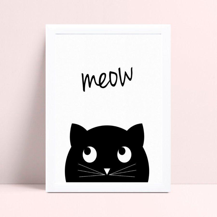 Quadro infantil sem moldura gato preto espiando